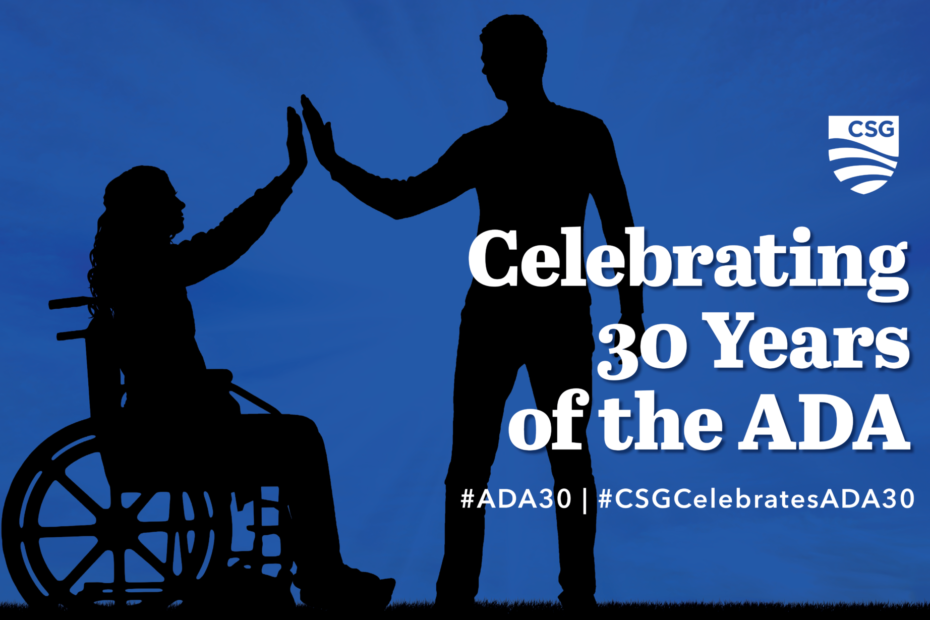 "Illustration representing webinar series called ""Celebrating 30 Years of the ADA"" includes likeness of man standing high fiving woman in a wheelchair"